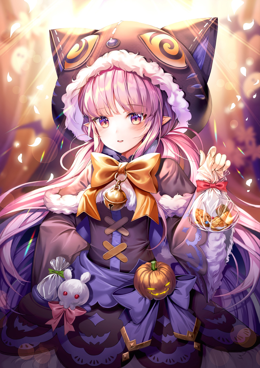 1girl absurdres animal_hood bangs bell blush bow cat_hood commentary_request cookie eyebrows_visible_through_hair food fur_trim harusame_(user_wawj5773) highres hikawa_kyouka hood long_hair long_sleeves looking_at_viewer nut_(food) pink_hair pointy_ears princess_connect! princess_connect!_re:dive pumpkin purple_hair purple_ribbon red_bow ribbon solo tagme twintails very_long_hair wide_sleeves yellow_ribbon