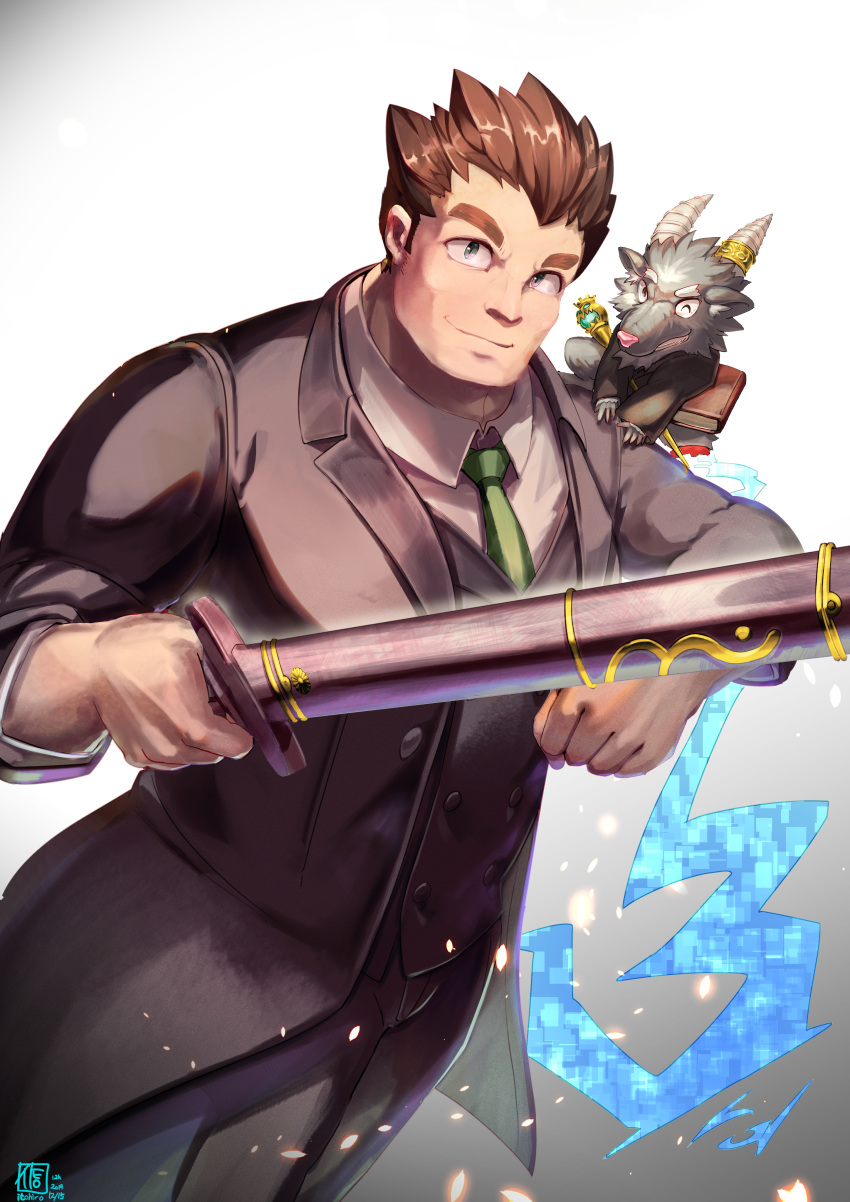 1boy absurdres animal_on_shoulder artist_name book brown_hair character_request dated formal green_neckwear grey_eyes highres horns huge_filesize itohiro03 male_focus necktie sheath sheathed smile spiky_hair standing suit thick_eyebrows tokyo_houkago_summoners wand weapon white_background