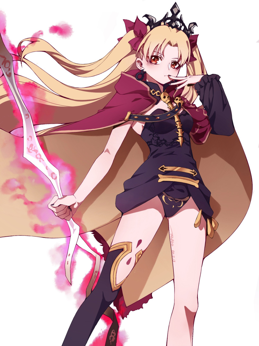 1girl asymmetrical_legwear asymmetrical_sleeves bangs between_breasts black_legwear black_leotard blonde_hair blush bow breasts cape closed_mouth detached_collar earrings ereshkigal_(fate/grand_order) fate/grand_order fate_(series) fur-trimmed_cape fur_trim gold_trim hair_bow highres hoop_earrings infinity jewelry leotard long_hair looking_at_viewer meslamtaea_(weapon) multicolored multicolored_cape multicolored_clothes necklace parted_bangs red_bow red_cape red_eyes single_sleeve single_thighhigh skull solo spine tanako_(645316096) thigh-highs thighs tiara two_side_up weapon white_background yellow_cape