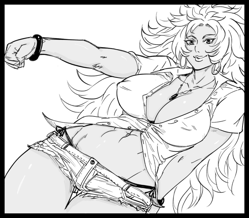 1girl abs arm_behind_back ass_visible_through_thighs bb_(baalbuddy) big_hair black_border black_panties border bracelet breasts clenched_hand closed_mouth collared_shirt covered_nipples cowboy_shot denim denim_shorts dutch_angle earrings gyaru head_tilt hoop_earrings jewelry large_breasts lipstick long_hair looking_at_viewer makeup micro_shorts midriff navel necklace panties popped_collar queen's_blade risty shirt short_sleeves shorts side-tie_panties smile solo tan thigh_gap toned unbuttoned unbuttoned_shirt underwear very_long_hair wavy_hair wing_collar