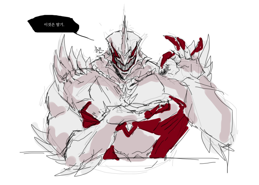 1boy claws darkin_sett demon evil_smile highres holding horn korean_text league_of_legends male_focus muscle open_mouth red_eyes saelyeon sett_(league_of_legends) sharp_teeth simple_background smile solo speech_bubble spikes teeth translation_request upper_body white_background