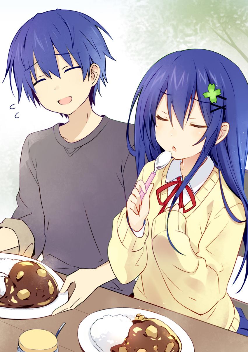 1boy 1girl blue_hair clover_hair_ornament curry date_a_live food four-leaf_clover_hair_ornament genderswap genderswap_(mtf) hair_ornament highres itsuka_shidou itsuka_shiori school_uniform spoon time_paradox tsunako