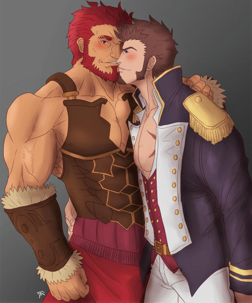 2boys abeberries armor bara beard blue_eyes blush brown_hair chest epaulettes facial_hair fate/grand_order fate_(series) hand_on_another's_hip hand_on_another's_shoulder highres leather long_sleeves looking_at_viewer male_focus military multiple_boys muscle napoleon_bonaparte_(fate/grand_order) pants pectorals red_eyes redhead rider_(fate/zero) scar simple_background smile uniform