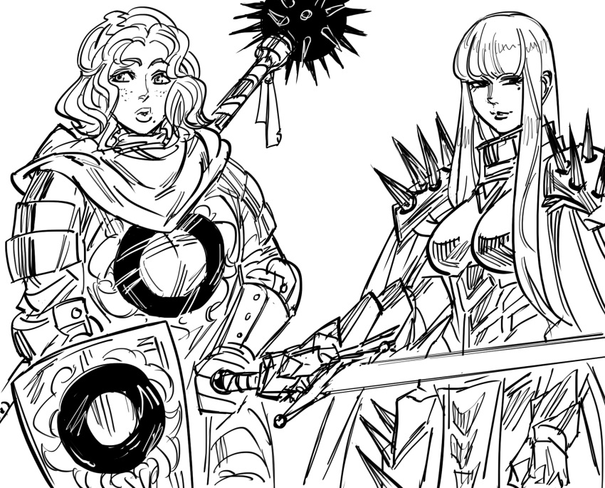 2girls armor bangs bb_(baalbuddy) blunt_bangs boobplate breastplate cape dark_knight full_armor greyscale highres hime_cut holding holding_sword holding_weapon knight long_hair looking_at_viewer mole mole_under_eye monochrome multiple_girls original paladin shield shoulder_armor shoulder_spikes simple_background smile spaulders spiked_mace spikes sword weapon white_background