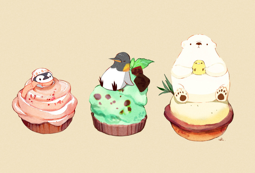 4others artist_name bear beige_background bird chai cheese_tart chocolate chocolate_mint chocolate_mint_tart commentary_request food hat highres holding_bird looking_at_viewer mint multiple_others original penguin scarf simple_background sitting_on_food strawberry_tart tart_(food)
