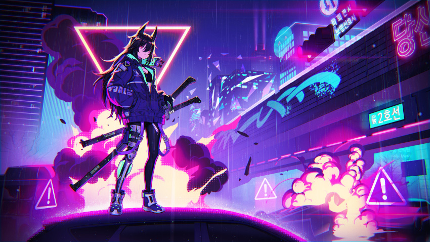 1girl absurdres animal_ears black_hair black_jacket black_shirt boots building car closed_mouth commentary crop_top cyberpunk explosion expressionless ground_vehicle hair_between_eyes hand_in_pocket highres huge_filesize jacket leggings lim_jaejin long_hair looking_at_viewer motor_vehicle neon_lights night original outdoors prosthesis prosthetic_leg rain red_eyes science_fiction sheath shirt sign smoke solo standing strap traffic_light very_long_hair warning_sign wide_shot