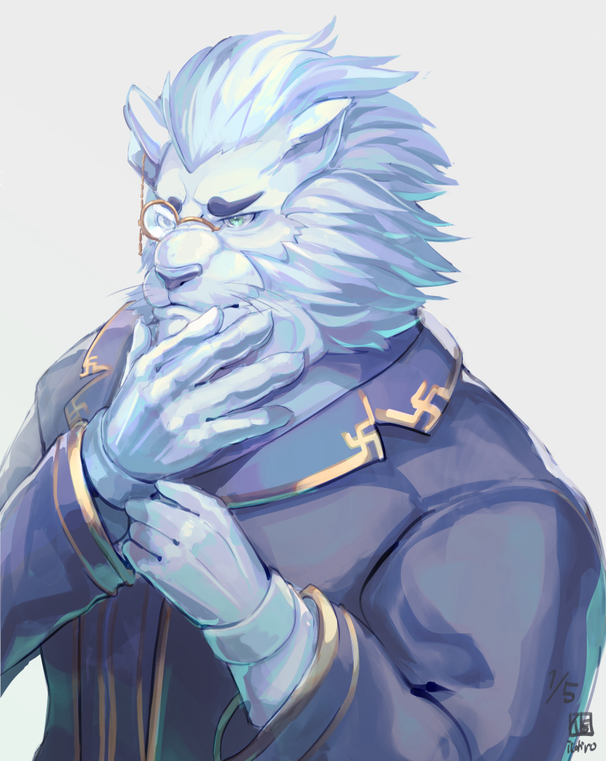 1boy absurdres blue_eyes character_request dated facing_viewer furry gloves hand_on_own_chin highres itohiro03 lion long_sleeves monocle pince-nez simple_background solo tokyo_houkago_summoners upper_body white_gloves white_hair