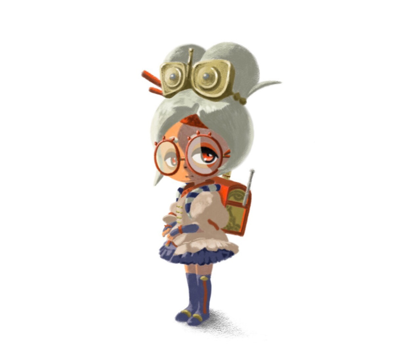 1girl appleq backpack bag blue_legwear boots brown_shirt closed_mouth commentary_request dark_skin expressionless eyeshadow flat_chest frilled_skirt frills full_body glasses grey_hair hair_ornament hair_stick half-closed_eyes headband instrument legs_together makeup miniskirt puffy_short_sleeves puffy_sleeves purah randoseru recorder red-framed_eyewear red_eyes red_headband shirt short_hair short_sleeves simple_background skirt solo standing the_legend_of_zelda the_legend_of_zelda:_breath_of_the_wild thigh-highs thigh_boots tied_hair topknot vambraces white_background zettai_ryouiki