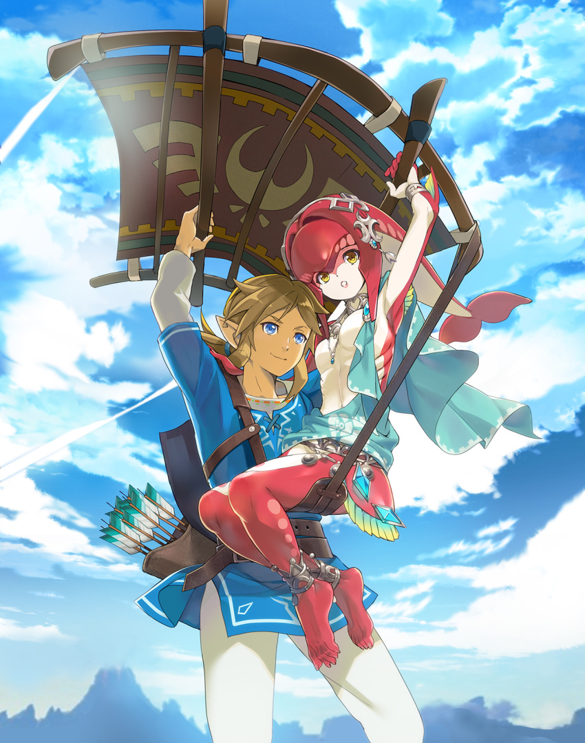 1boy 1girl anklet arm_up armpits arms_up arrow bangs barefoot belt blonde_hair blue_eyes blue_shirt blue_sky breasts closed_mouth clouds commentary_request crystal day flying gills hair_tie happy headpiece heart highres jewelry link long_hair long_sleeves mipha mountain navel necklace no_nipples nyoro_(nyoronyoro000) outdoors pants parted_lips pointy_ears ponytail quiver red_skin shield shiny shiny_hair shiny_skin shirt short_over_long_sleeves short_sleeves sitting sky small_breasts smile teeth the_legend_of_zelda the_legend_of_zelda:_breath_of_the_wild tied_hair two-tone_skin undershirt volcano white_pants white_skin yellow_eyes zora