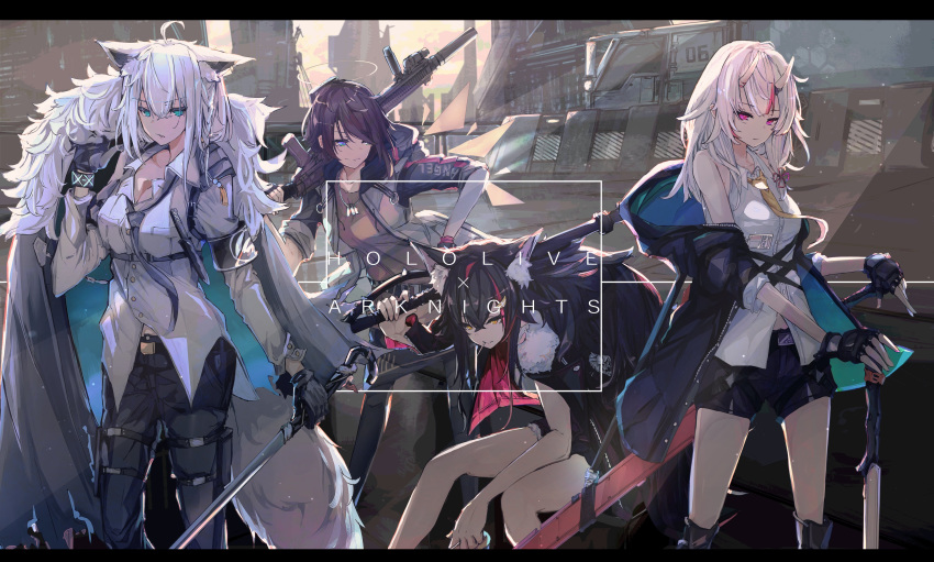 4girls absurdres animal_ears arknights assault_rifle axe battle_axe building bullpup ch'en_(arknights) ch'en_(arknights)_(cosplay) city cityscape cosplay crossover energy_wings exusiai_(arknights) exusiai_(arknights)_(cosplay) fingerless_gloves fur_collar gloves gun halo highres hololive long_coat multiple_girls nakiri_ayame necktie oni oni_horns ookami_mio oozora_subaru rifle shirakami_fubuki siege_(arknights) siege_(arknights)_(cosplay) silverash_(arknights) silverash_(arknights)_(cosplay) sword sword_cane tsumeki weapon wolf_ears wolf_girl
