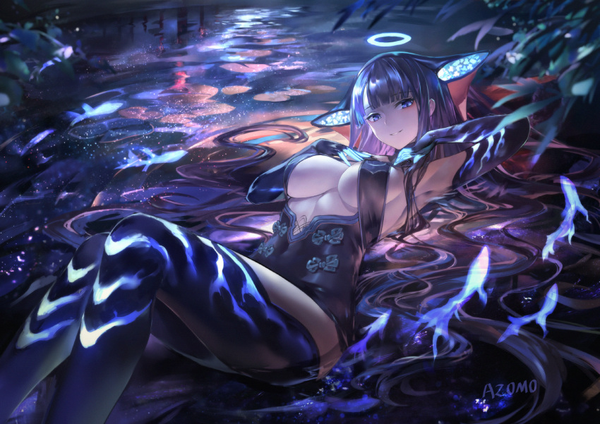 1girl armpits artist_name azomo bangs bare_shoulders black_dress black_gloves black_headwear black_legwear blue_eyes blue_fire blunt_bangs blush breasts center_opening covered_navel dress elbow_gloves fate/grand_order fate_(series) fire fish gloves halo hands_on_own_chest hands_up highres knees_up large_breasts long_hair looking_at_viewer lying on_back plant purple_hair thigh-highs thighs very_long_hair water yang_guifei_(fate/grand_order)