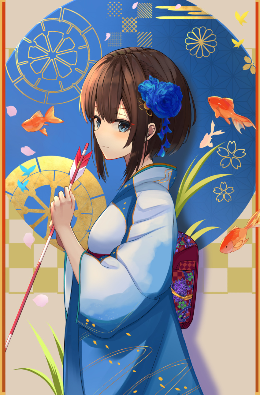 1girl 2020 arrow bangs belt blue_eyes blue_flower blue_kimono bob_cut brown_hair chinese_zodiac commentary cowboy_shot fish flower foliage from_side goldfish hair_flower hair_ornament hamaya highres holding_arrow japanese_clothes kimono light_blush light_smile looking_at_viewer looking_to_the_side new_year obi original patterned_background red_belt sash short_hair sidelocks solo sorami_sachi year_of_the_rat