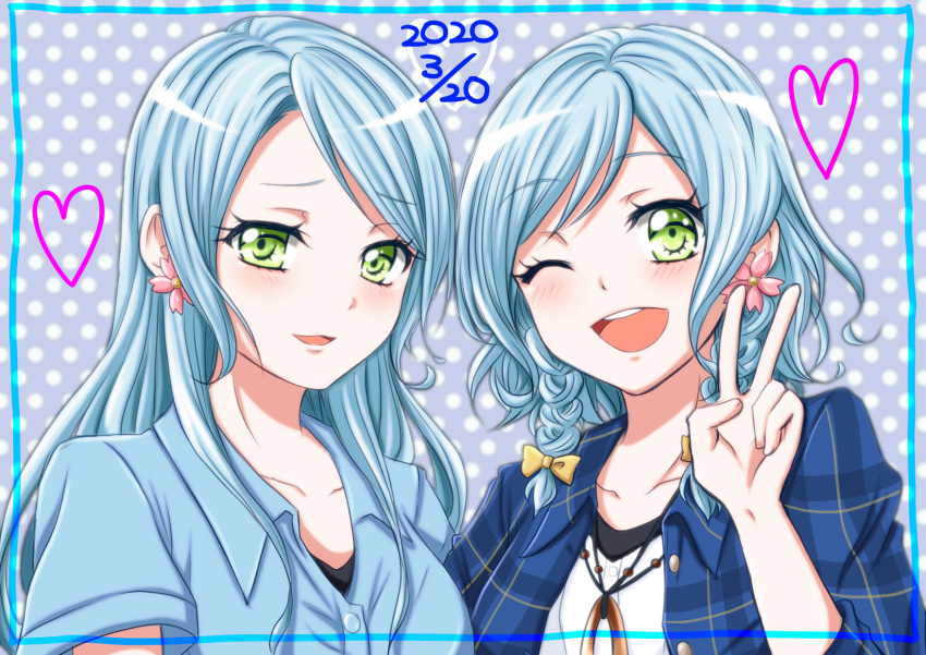 2girls ;d aqua_border aqua_hair ayane_izumi bang_dream! bangs blue_shirt blush cherry_blossoms collarbone commentary_request dated earrings eyebrows_visible_through_hair flower_earrings green_eyes grey_shirt heart highres hikawa_hina hikawa_sayo jewelry long_hair looking_at_viewer multiple_girls necklace one_eye_closed open_clothes open_mouth open_shirt polka_dot polka_dot_background shirt short_hair short_sleeves siblings side_braids sidelocks sisters smile swept_bangs twins upper_body upper_teeth v white_shirt