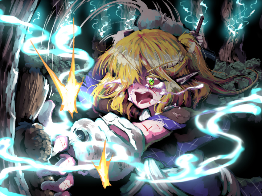 1girl arm_up arm_warmers blonde_hair brown_capelet bush capelet crying crying_with_eyes_open cuts ears eyebrows eyebrows_visible_through_hair face forest ghost glowing green_eyes hair_over_one_eye hammer highres holding holding_hammer injury looking_at_object mizuhashi_parsee nature night one_side_up open_eyes open_mouth outdoors pointy_ears puppet saliva shaded_face short_hair short_sleeves sickle solo spell_card sunyup tears teeth touhou tree upper_body v-shaped_eyebrows wide-eyed