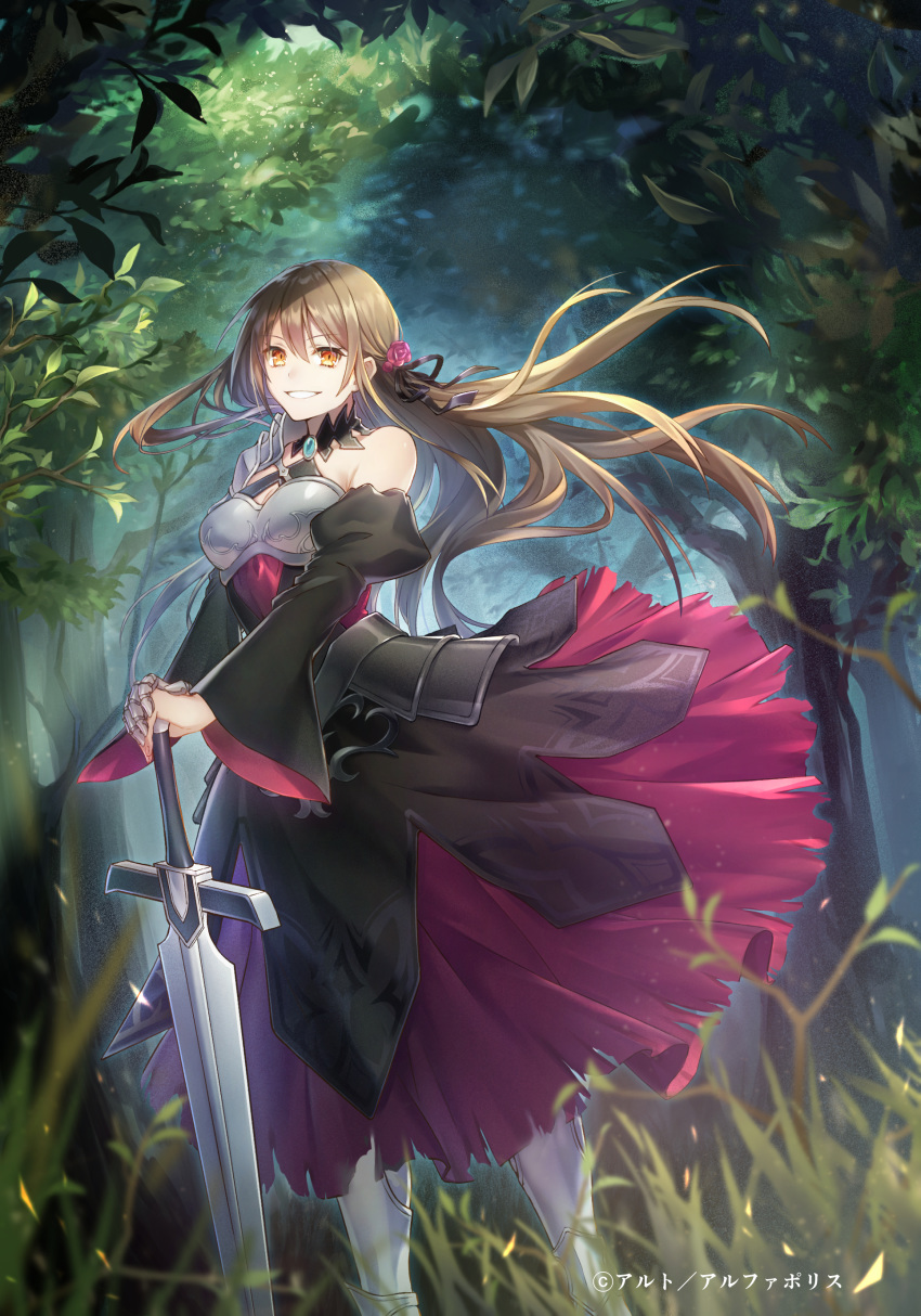 1girl absurdres armor armored_dress bangs bare_shoulders black_dress breastplate breasts brown_hair commentary_request detached_sleeves dress eyebrows_visible_through_hair flower forest gauntlets greaves hair_between_eyes hair_flower hair_ornament highres long_hair looking_at_viewer nature orange_eyes original parted_lips shoulder_guard single_gauntlet smile solo standing sword tamu_(tamurarucaffe1226) tree weapon