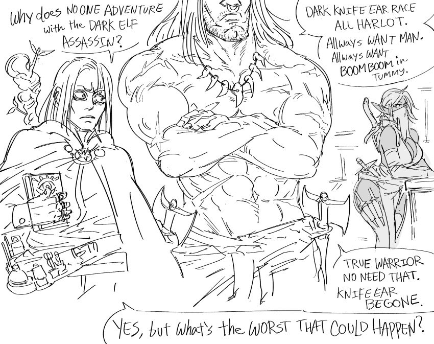 1girl 2boys abs axe bags_under_eyes barbarian bb_(baalbuddy) belt book breasts crossed_arms dark_elf elf english_text facial_hair greyscale highres holding holding_book knife large_breasts long_hair monochrome mouth_veil multiple_boys muscle nose_piercing nose_ring original piercing pointy_ears sanpaku scabbard sheath short_hair staff stubble sword sword_behind_back tooth_necklace topless vial weapon weapon_on_back wide-eyed