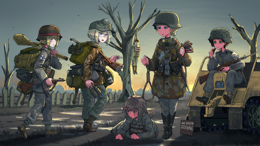 1boy 5girls backpack bag bare_tree bird blue_eyes boots brown_hair cigarette commentary corpse dirty_face eating erica_(naze1940) fence german_text green_eyes gun hat helmet highres holding holding_grenade holding_gun holding_weapon long_hair military military_hat military_uniform multiple_girls noose original outdoors ponytail short_hair sitting tree uniform vehicle weapon world_war_ii