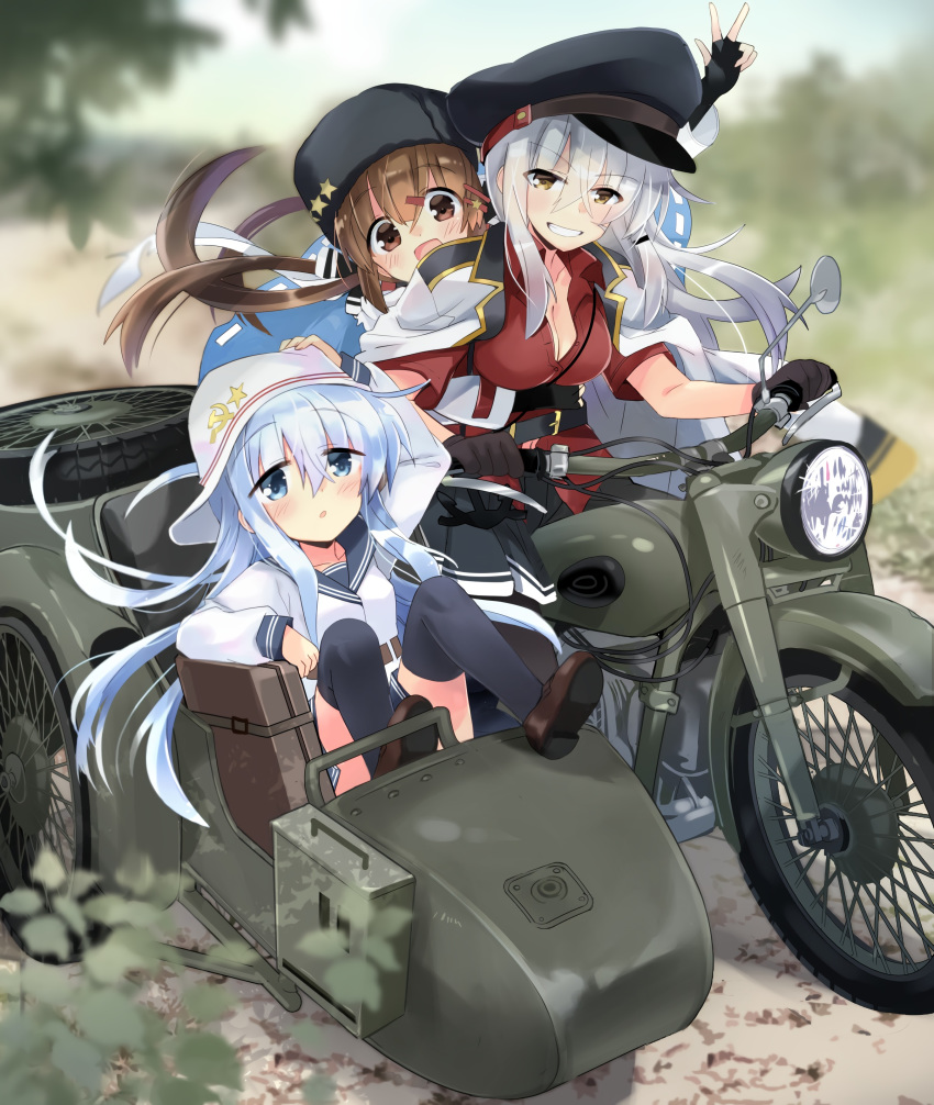 3girls absurdres black_bow black_gloves black_headwear black_legwear black_sailor_collar black_skirt blue_eyes blue_shawl blurry bow brown_eyes brown_hair commentary_request day depth_of_field facial_scar field flat_cap gangut_(kantai_collection) gloves grey_hair ground_vehicle hair_bow hammer_and_sickle hat hibiki_(kantai_collection) highres hizuki_yayoi jacket jacket_on_shoulders kantai_collection long_hair looking_at_viewer low_twintails motor_vehicle motorcycle multiple_girls outdoors pantyhose papakha peaked_cap red_shirt remodel_(kantai_collection) ribbon_trim riding sailor_collar scar scar_on_cheek scarf school_uniform serafuku shawl shirt short_sleeves sidecar silver_hair skirt tashkent_(kantai_collection) thigh-highs torn_scarf tricycle twintails v vehicle_request verniy_(kantai_collection) white_headwear white_jacket white_scarf