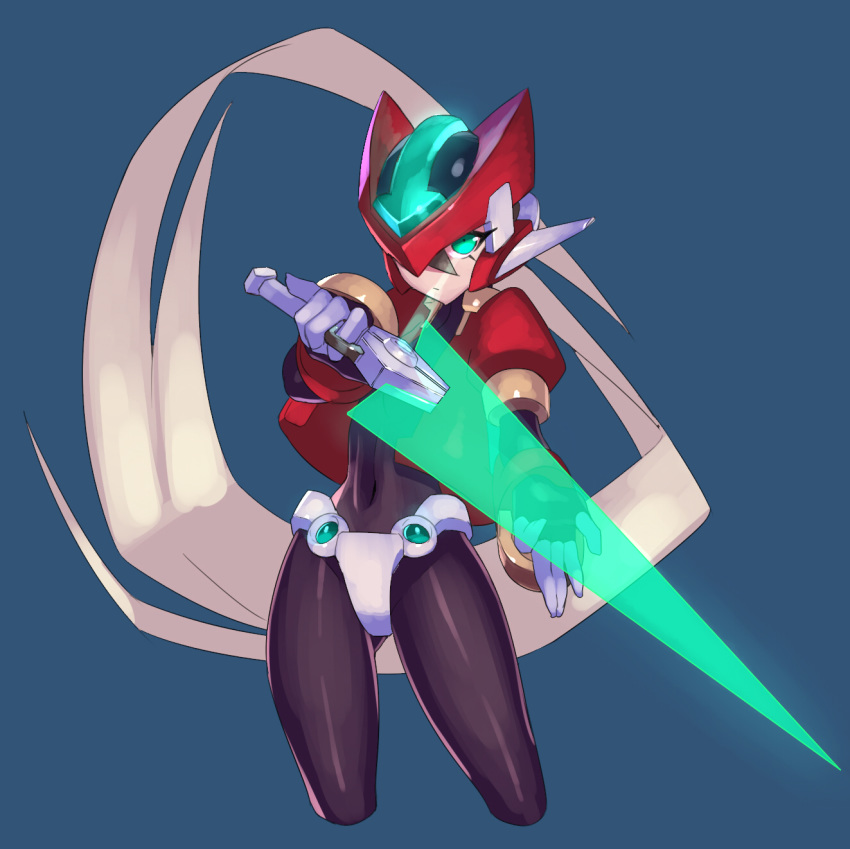 android blonde_hair bodystocking bodysuit closed_mouth energy_sword gloves green_eyes helmet highres holding holding_weapon long_hair looking_at_viewer model_zx ponytail protected_link rockman rockman_zx simple_background solo spandex sword ukimukai weapon