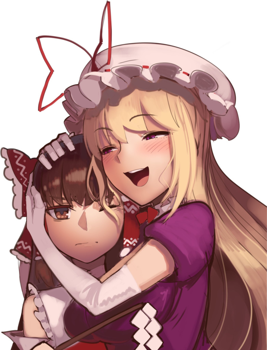 2girls :d blonde_hair blush boa_(brianoa) bow breasts brown_hair closed_mouth dress elbow_gloves gloves gohei hair_bow hair_tubes hakurei_reimu hat hat_ribbon highres hug large_breasts multiple_girls one_eye_closed open_mouth pillow_hat purple_dress red_bow red_ribbon ribbon simple_background smile touhou unamused white_background white_gloves yakumo_yukari