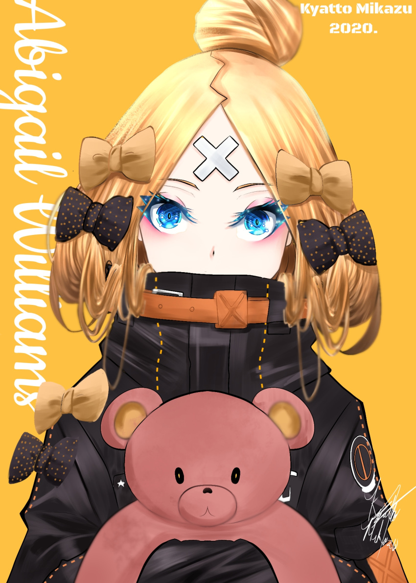 1girl abigail_williams_(fate/grand_order) artist_request bandaid_on_forehead bangs black_bow black_jacket blonde_hair blue_eyes blush bow breasts character_name crossed_bandaids fate/grand_order fate_(series) forehead hair_bow hair_bun heroic_spirit_traveling_outfit high_collar highres holding holding_stuffed_animal jacket long_hair long_sleeves looking_at_viewer multiple_bows object_hug orange_belt orange_bow parted_bangs polka_dot polka_dot_bow simple_background sleeves_past_fingers sleeves_past_wrists small_breasts solo stuffed_animal stuffed_toy teddy_bear yellow_background