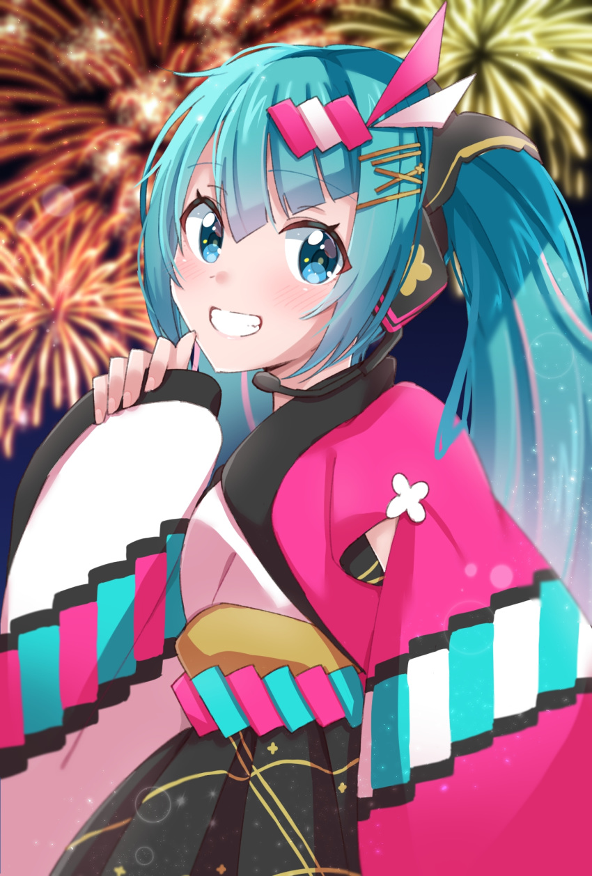 1girl aqua_eyes aqua_hair commentary fireworks floral_print grin hair_ornament hairclip hand_up hatsune_miku headphones headset highres japanese_clothes kimono long_hair magical_mirai_(vocaloid) mismatched_sleeves night pink_sleeves smile solo supo01 twintails upper_body very_long_hair vocaloid white_sleeves yukata