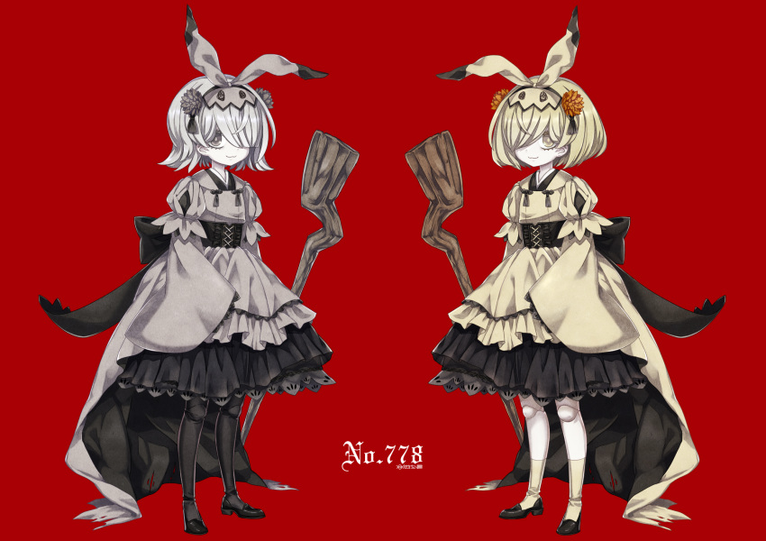 2girls :3 black_footwear blonde_hair closed_mouth eyebrows_visible_through_hair grey_hair hair_over_one_eye highres long_sleeves looking_at_viewer merlusa mimikyu multiple_girls personification pokemon short_hair sleeves_past_wrists smile yellow_eyes