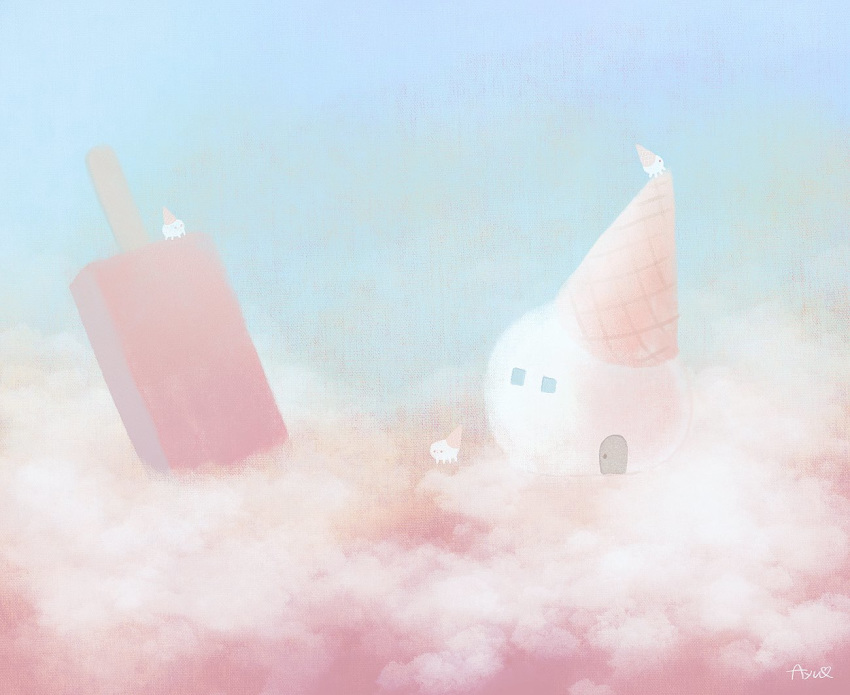 ayu_(mog) blue_sky clouds day fantasy food hat house no_humans original outdoors party_hat popsicle scenery signature sky surreal symbol_commentary