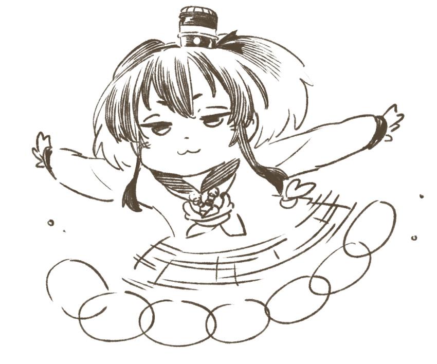 1girl :3 arms_at_sides chibi kantai_collection medium_hair monochrome outstretched_arms sidelocks smug solo spread_arms tokitsukaze_(kantai_collection) uyama_hajime