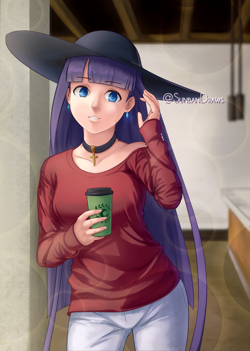 1girl alternate_costume bangs black_choker black_headwear blue_eyes blunt_bangs breasts casual choker coffee coffee_cup collarbone contemporary cross cup disposable_cup earrings english_commentary eyebrows_visible_through_hair fate/grand_order fate_(series) hat highres holding holding_cup indoors jewelry large_breasts long_hair looking_at_viewer off_shoulder pants purple_hair red_shirt saint_martha saint_martha_(swimsuit_ruler)_(fate) shirt single_bare_shoulder solo sun_hat sunbandraws twitter_username very_long_hair white_pants