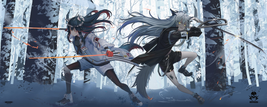2girls :d animal_ears arknights belt black_hair black_legwear dual_wielding forest hamachi_hazuki highres holding jacket lappland_(arknights) long_hair multiple_girls nature open_mouth outdoors redhead sharp_teeth shorts simple_background smile snow tail teeth texas_(arknights) trench_coat