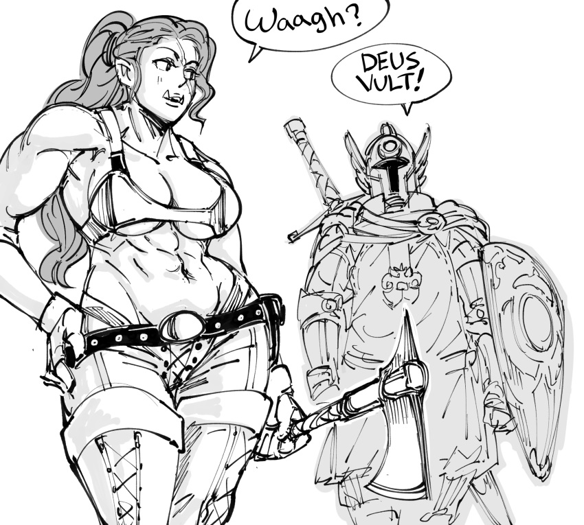 1boy 1girl abs armor bare_shoulders bb_(baalbuddy) bikini_armor boots contrapposto fangs full_armor gloves greyscale hand_on_hip hatchet helmet highres holding holding_weapon latin_text long_hair monochrome muscle muscular_female navel orc paladin ponytail shield simple_background tabard thigh-highs thigh_boots warhammer_fantasy weapon weapon_on_back white_background