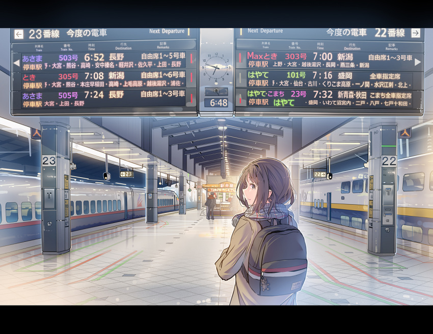 1girl 3others backpack bag bangs brown_eyes brown_hair daito from_behind ground_vehicle jacket letterboxed long_hair looking_at_viewer looking_back multiple_others original scarf solo_focus train train_station train_station_platform translation_request