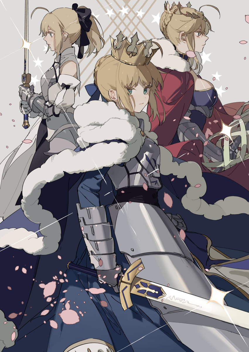 3girls ahoge armor armored_dress artoria_pendragon_(all) artoria_pendragon_(lancer) bare_shoulders black_bow blonde_hair bow braid breasts caliburn cape cherry_blossoms crown detached_sleeves excalibur falling_petals fate/grand_order fate/stay_night fate/unlimited_codes fate_(series) french_braid from_side fur-trimmed_cape fur_trim gauntlets green_eyes hair_between_eyes highres holding holding_sword holding_weapon lance large_breasts looking_at_viewer multiple_girls polearm ponytail rhongomyniad saber saber_lily sideboob sidelocks sword weapon zhibuji_loom