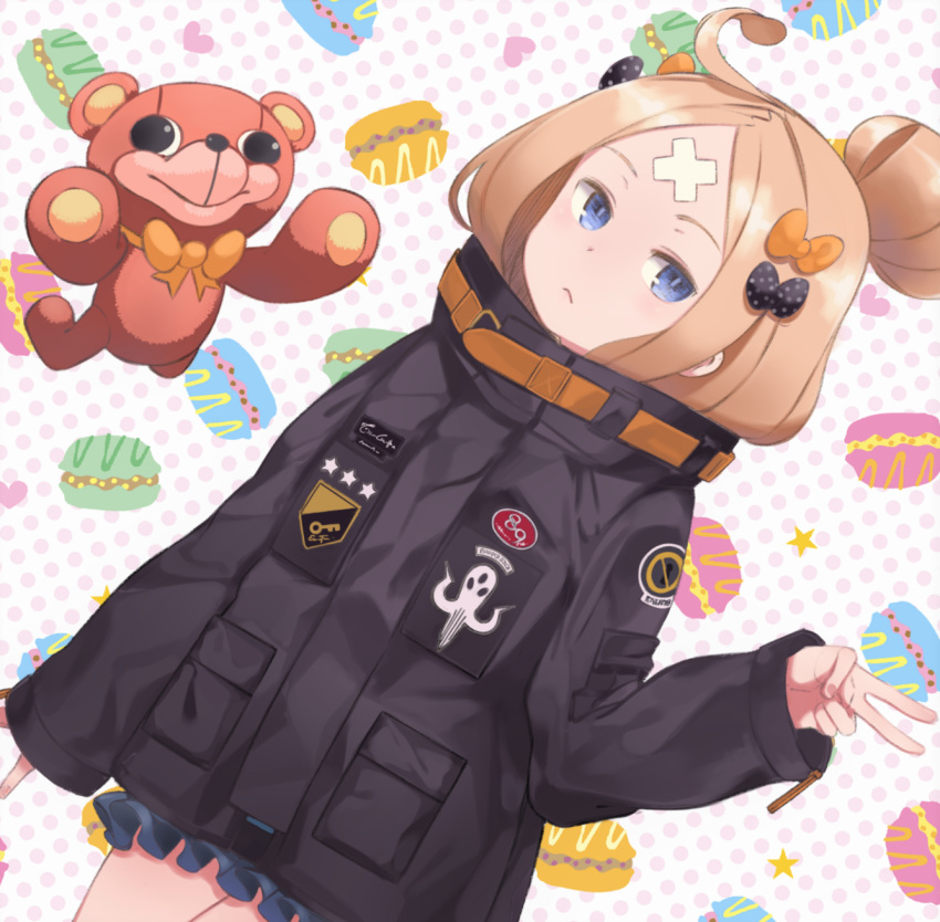1girl abigail_williams_(fate/grand_order) bandaid_on_forehead bangs black_bow black_jacket blonde_hair blue_eyes bow breasts closed_mouth crossed_bandaids fate/grand_order fate_(series) forehead hair_bow hair_bun heroic_spirit_traveling_outfit high_collar highres jacket long_hair macaron_background multiple_bows orange_belt orange_bow parted_bangs polka_dot polka_dot_background polka_dot_bow sleeves_past_wrists small_breasts snorkel14 solo stuffed_animal stuffed_toy teddy_bear white_background