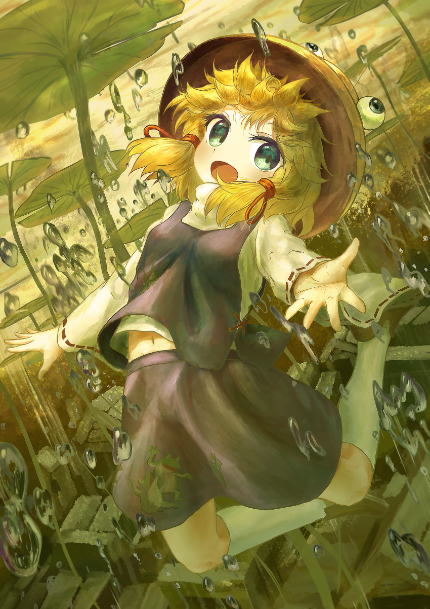 1girl :d absurdres air_bubble animal_print blonde_hair bubble building dutch_angle ekaapetto folded_leg foreshortening frog_print full_body green_eyes green_theme hair_ribbon hat highres jumping kneehighs leaf lily_pad long_sleeves looking_at_viewer midriff_peek moriya_suwako navel open_mouth outdoors outstretched_hand purple_skirt purple_vest reaching_out ribbon ribbon-trimmed_sleeves ribbon_trim shirt short_hair sidelocks skirt skirt_set smile solo touhou twilight underwater vest water_drop white_legwear white_shirt yellow_sky