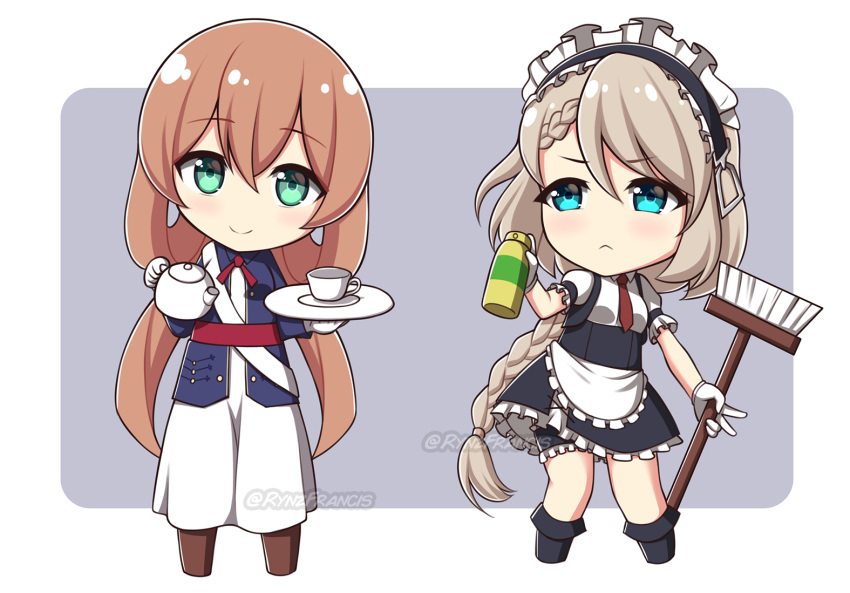 2girls :< apron bangs black_footwear black_skirt blue_eyes blue_jacket blush boots braid breasts broom brown_footwear brown_hair chibi closed_mouth commission cup dress eyebrows_visible_through_hair frilled_apron frilled_skirt frills g36_(girls_frontline) girls_frontline gloves green_eyes grey_background hair_between_eyes holding holding_broom holding_plate holding_teapot jacket long_hair long_sleeves low_twintails m1903_springfield_(girls_frontline) maid maid_headdress multiple_girls open_clothes open_jacket plate puffy_short_sleeves puffy_sleeves rynzfrancis shirt short_sleeves skirt small_breasts smile spray_can teacup twintails twitter_username two-tone_background very_long_hair waist_apron watermark white_apron white_background white_dress white_gloves white_shirt