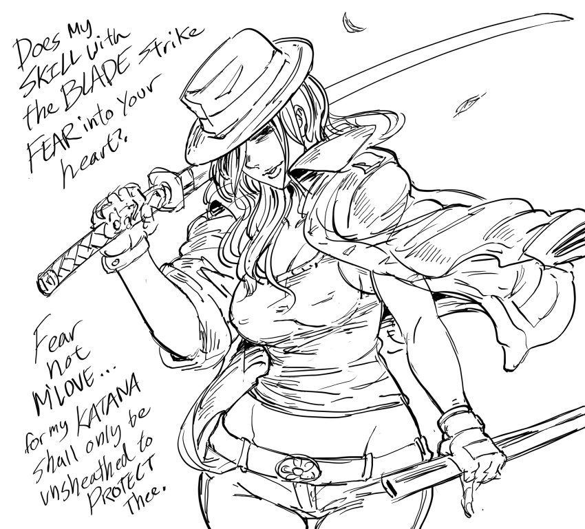 1girl bb_(baalbuddy) belt commentary covered_nipples cowboy_shot dual_wielding english_commentary english_text fedora gloves greyscale hair_over_one_eye hat highres holding holding_sword holding_weapon katana leaves_in_wind long_hair looking_at_viewer midriff_peek monochrome one_eye_covered original otaku over_shoulder pants scabbard sheath shirt simple_background solo standing sword sword_over_shoulder thigh_gap weapon weapon_over_shoulder white_background