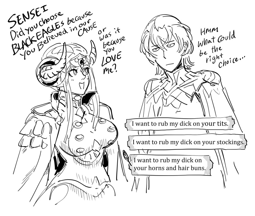 1boy 1girl :d bb_(baalbuddy) breasts byleth_(fire_emblem) byleth_(fire_emblem)_(male) commentary curled_horns dialogue_box double_bun edelgard_von_hresvelg english_commentary english_text epaulettes fire_emblem fire_emblem:_three_houses greyscale highres jacket jacket_on_shoulders jitome large_breasts looking_at_another monochrome open_mouth profanity sidelocks simple_background smile truth white_background