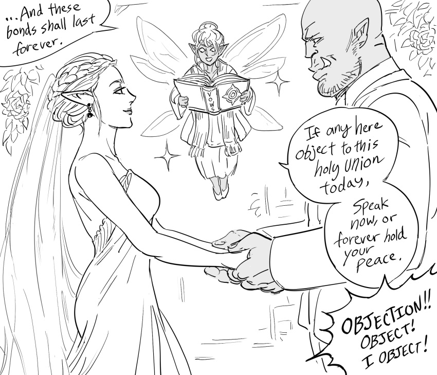 1boy 2girls bald bare_shoulders bb_(baalbuddy) book braid braided_bun bridal_veil bride closed_mouth commentary dress earrings elf english_commentary english_text fairy fairy_wings fang fang_out flower flying greyscale groom hair_bun happy height_difference highres holding holding_book holding_hands husband_and_wife jewelry lipstick long_sleeves makeup monochrome multiple_girls multiple_wings orc original pointy_ears priestess rose simple_background smile sparkle veil wedding wedding_dress white_background wings
