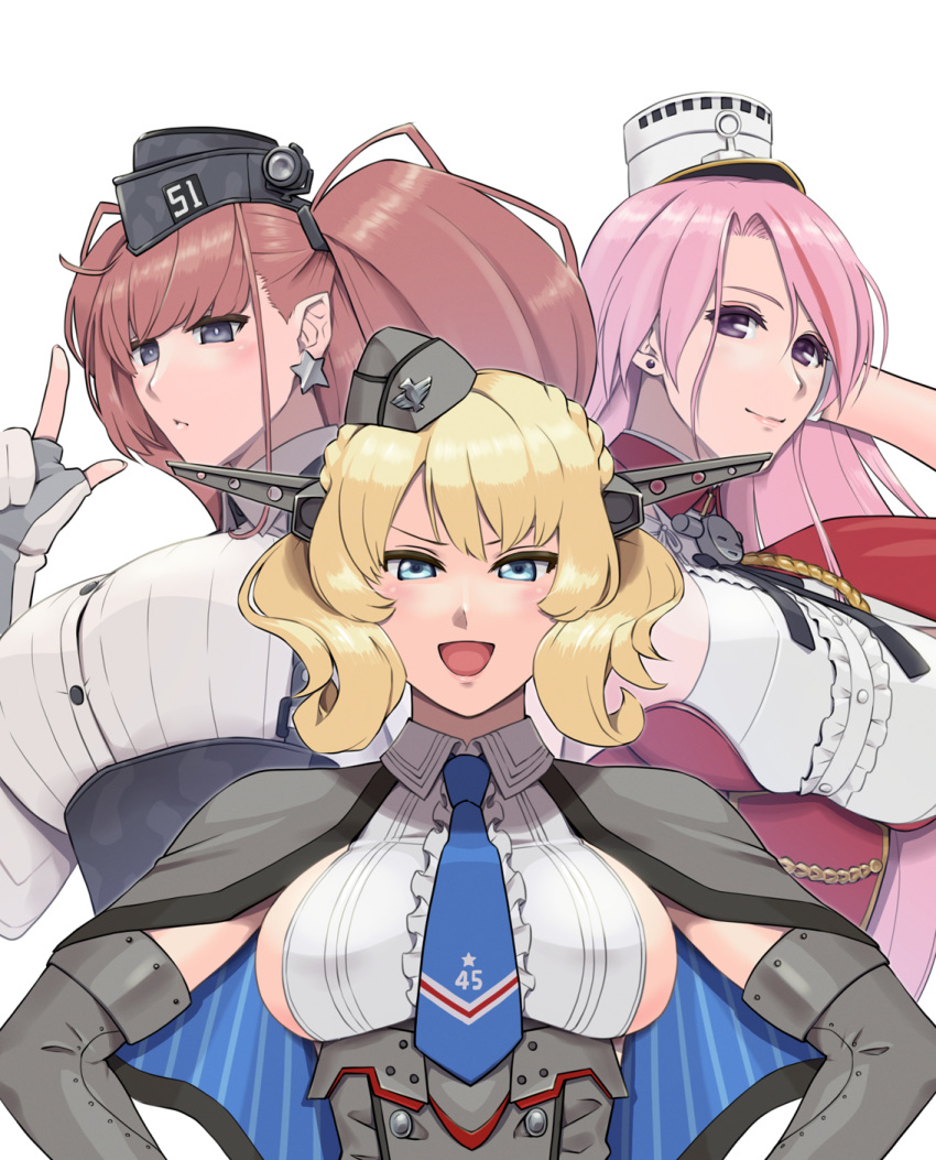 3girls armpit_cutout atlanta_(kantai_collection) black_headwear blonde_hair blue_eyes blue_neckwear breasts brown_hair capelet colorado_(kantai_collection) commentary_request dress dress_shirt earrings elbow_gloves garrison_cap gloves grey_dress grey_eyes grey_headwear hat headgear highres index_finger_raised jewelry kantai_collection kuroiani large_breasts long_hair luigi_di_savoia_duca_degli_abruzzi_(kantai_collection) multicolored_hair multiple_girls necktie partly_fingerless_gloves pink_hair pleated_dress redhead shirt short_hair side_braids sideboob simple_background sleeveless star star_earrings streaked_hair two_side_up upper_body violet_eyes white_background white_gloves white_shirt