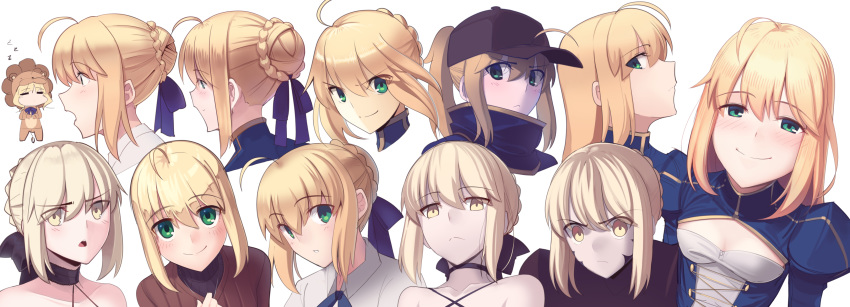 =_= absurdres ahoge animal_costume armor artoria_pendragon_(all) baseball_cap black_choker blonde_hair blue_dress blush boa_(brianoa) braid braided_bun breasts brown_sweater chibi choker cleavage_cutout closed_mouth dark_persona dress expressions eyebrows_visible_through_hair eyes_visible_through_hair fate/grand_order fate/stay_night fate/tiger_colosseum fate_(series) gradient gradient_background green_eyes grey_background grey_headwear hair_ribbon happy hat highres lion_costume long_hair looking_at_viewer multiple_persona mysterious_heroine_x open_mouth parted_lips profile purple_ribbon ribbon saber saber_alter sidelocks small_breasts smile sweater turtleneck wide-eyed yellow_eyes