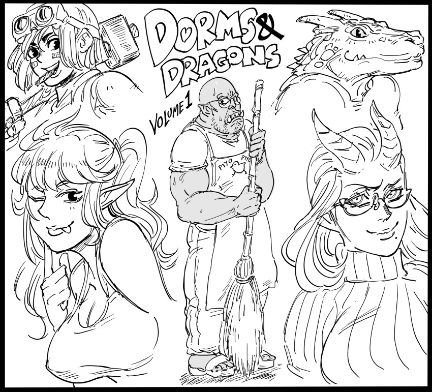 1boy 4girls :p bb_(baalbuddy) black_border border breasts broom cigar commentary cover covered_nipples dark_skin dark_skinned_male demon_girl demon_horns elf facial_mark fake_cover fang furry glasses goggles goggles_on_head greyscale hammer highres holding horns large_breasts lizard_girl looking_at_viewer mole mole_under_mouth monochrome monster_girl mouth_hold multiple_girls muscle one_eye_closed orc original pants pointy_ears ponytail ribbed_sweater sandals shirt simple_background smile sweater t-shirt tank_top title_parody tongue tongue_out white_background