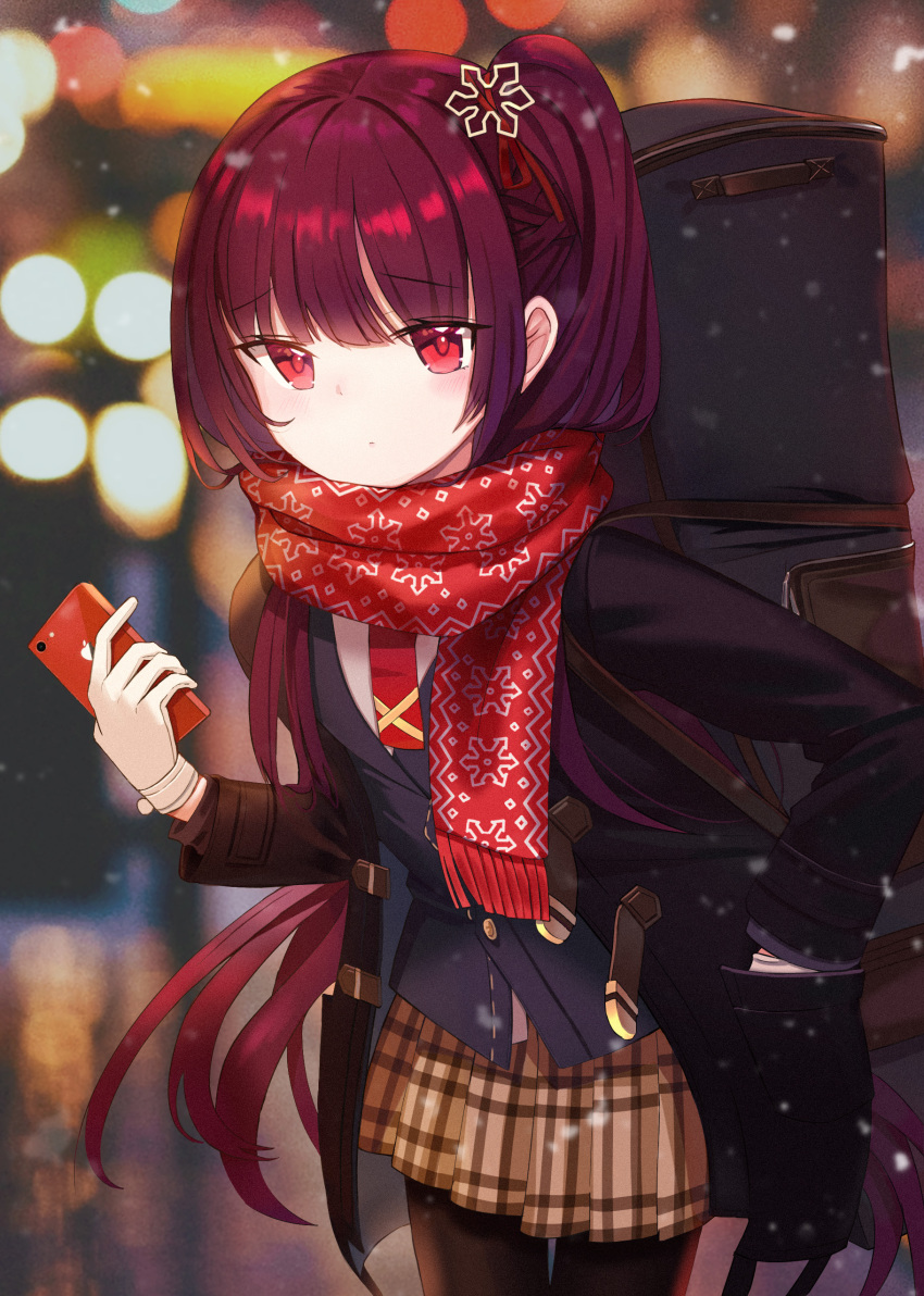 1girl absurdres bag bangs black_legwear blunt_bangs blush bracelet cellphone checkered checkered_skirt commentary_request girls_frontline highres holding holding_phone iren_lovel jewelry long_hair long_sleeves looking_at_viewer one_side_up outdoors pantyhose phone red_eyes red_scarf redhead scarf school_uniform skirt snowing solo standing uniform wa2000_(girls_frontline)