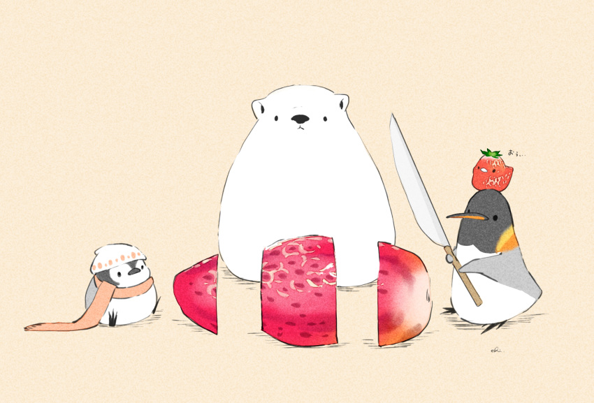 4others alcohol artist_name beer beige_background bird chai commentary_request food fruit hat highres holding knife looking_at_another multiple_others no_humans original penguin scarf sitting strawberry