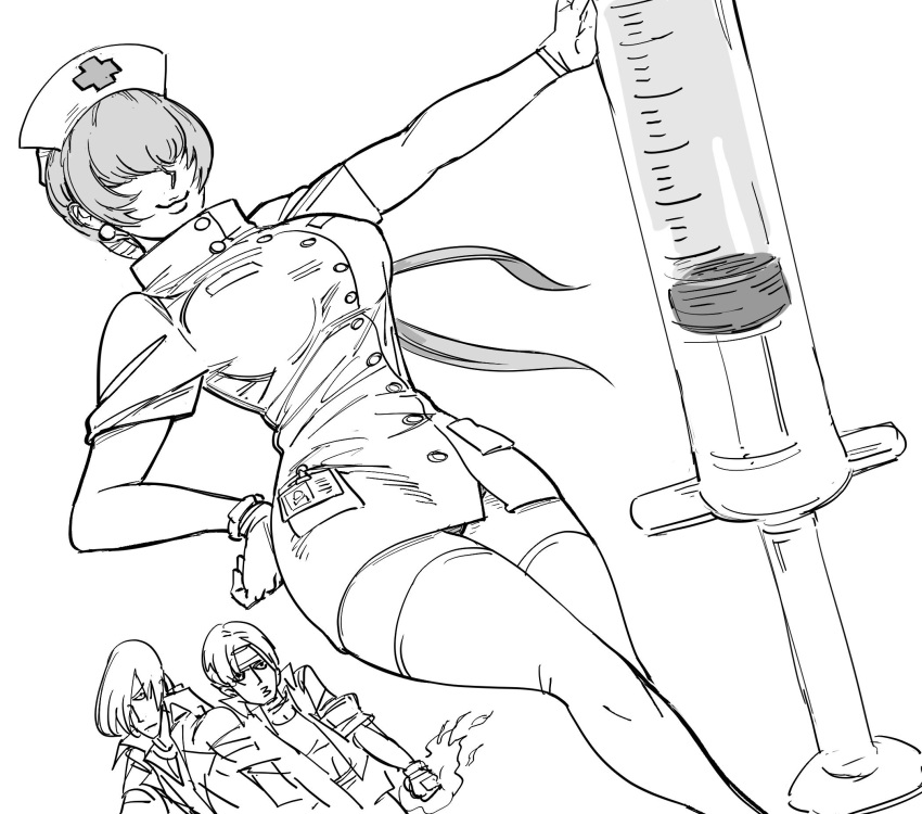1girl 2boys :3 bb_(baalbuddy) breasts character_name closed_mouth covered_eyes dress dutch_angle earrings feet_out_of_frame flaming_hand gloves greyscale hair_over_eyes hand_on_hip hat highres jewelry large_breasts large_syringe long_hair looking_at_viewer monochrome multiple_boys name_tag nurse nurse_cap oversized_object panties pantyshot pantyshot_(standing) ponytail shermie simple_background skin_tight smile standing strapless strapless_dress syringe the_king_of_fighters thigh-highs tube_dress underwear very_long_hair white_background