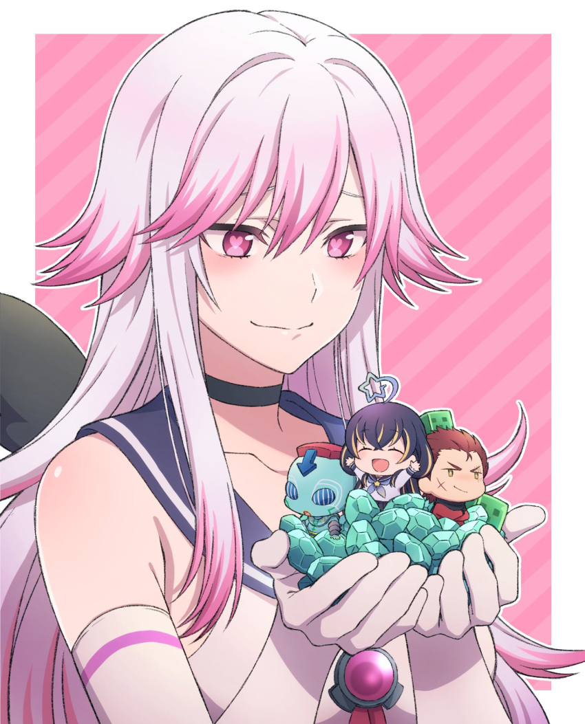1boy 2girls ^_^ ^o^ ahoge black_hair blonde_hair blush character_request choker closed_eyes closed_mouth collarbone commentary_request copyright_request diamond_(gemstone) elbow_gloves eyebrows_visible_through_hair facing_viewer gloves hair_between_eyes heart heart-shaped_pupils highlights highres long_hair looking_at_another magura_ene magura_ene_channel minecraft multicolored_hair multiple_girls partial_commentary pink_eyes pink_hair smile symbol-shaped_pupils tsu3_v two-tone_hair ur_ken_north ur_ken_north_seikimatsu_vtuber very_long_hair white_gloves white_hair