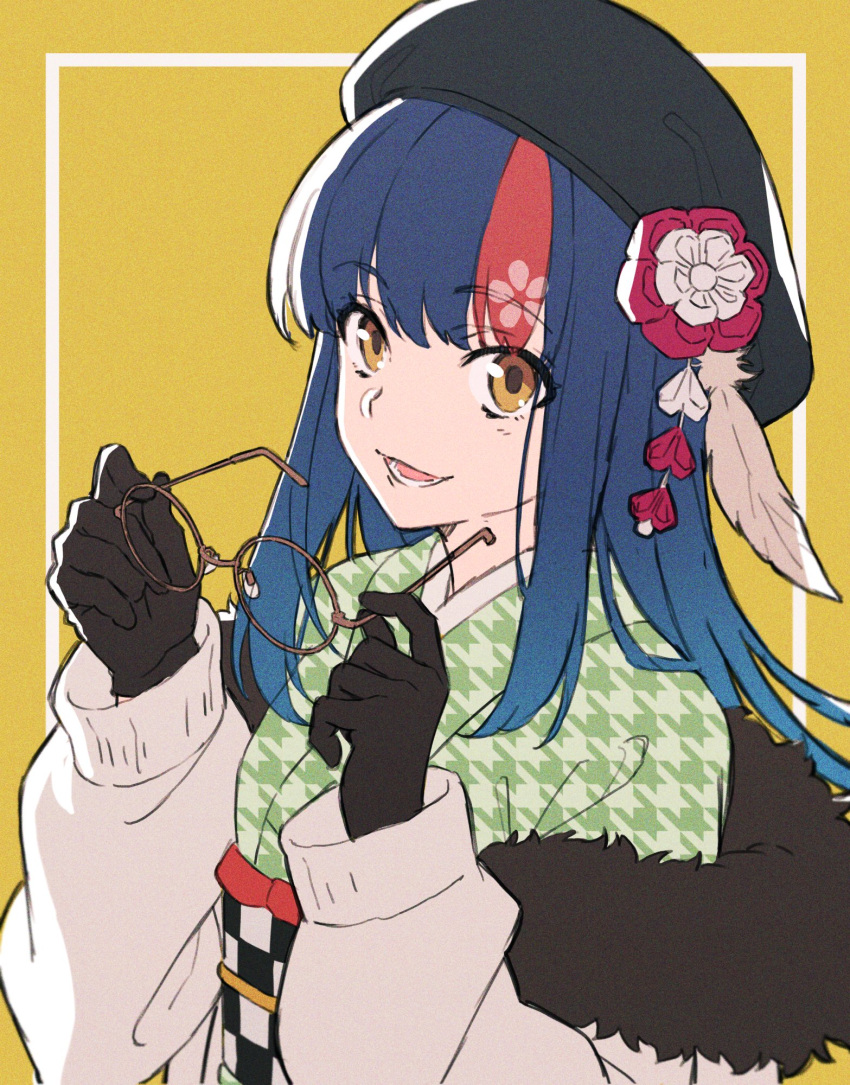 1girl black_gloves black_headwear blue_hair blush breasts character_request copyright_request eyebrows_visible_through_hair flower glasses gloves hair_flower hair_ornament happy hat highlights highres holding holding_eyewear looking_at_viewer medium_breasts multicolored_hair open_mouth redhead round_eyewear smile solo teeth tsu3_v upper_body