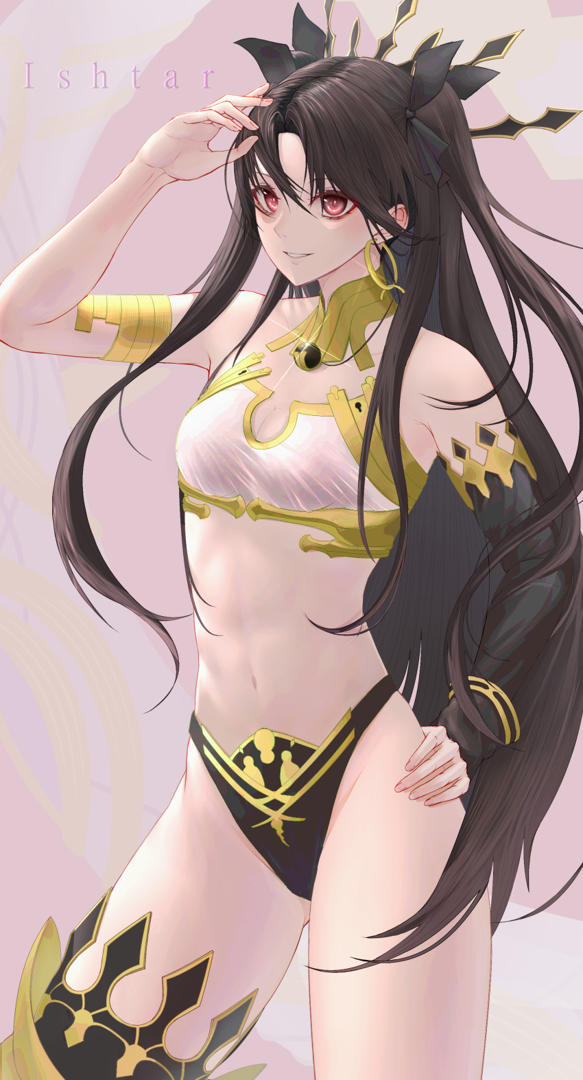 1girl absurdres armlet asymmetrical_legwear asymmetrical_sleeves bangs bare_shoulders black_hair blush breasts character_name commentary crown detached_collar earrings fate/grand_order fate_(series) hair_ribbon highres hoop_earrings ishtar_(fate)_(all) ishtar_(fate/grand_order) jewelry long_hair looking_at_viewer medium_breasts navel neck_ring parted_bangs red_eyes ribbon single_thighhigh smile solo tenpai thigh-highs two_side_up