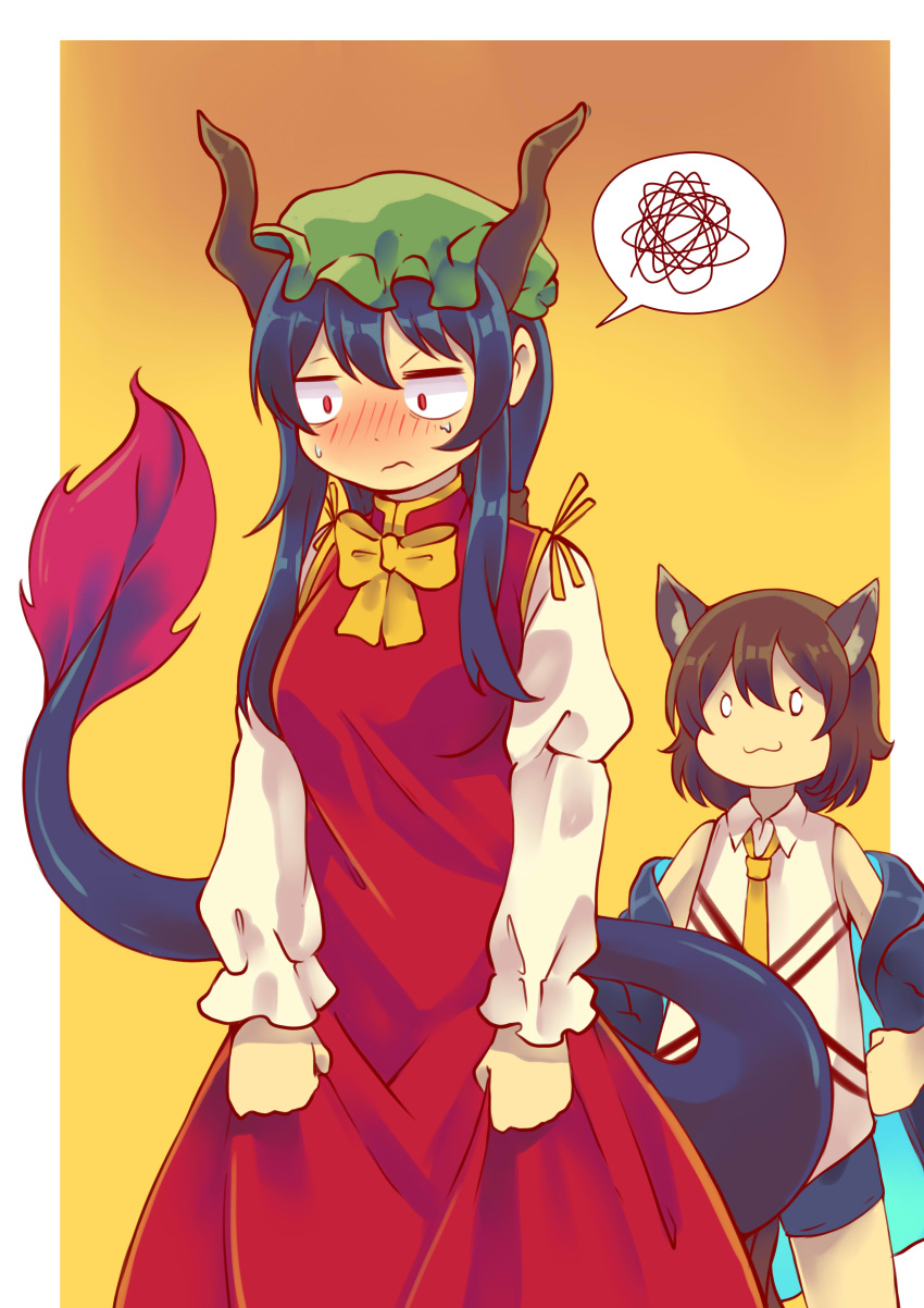 0_0 2girls :3 absurdres animal_ears arknights bangs blue_hair blue_jacket blue_shorts blush border bow bowtie breasts brown_hair cat_ears ch'en_(arknights) ch'en_(arknights)_(cosplay) chen chen_(cosplay) commentary constricted_pupils cosplay costume_switch cowboy_shot crossover dragon_horns dragon_tail dress english_commentary gradient gradient_background green_headwear hair_between_eyes hand_on_hip hat highres horns jacket juliet_sleeves long_hair long_sleeves medium_breasts mob_cap mujib multiple_girls namesake necktie nose_blush off_shoulder open_clothes open_jacket outside_border puffy_sleeves red_dress red_eyes shirt short_hair short_shorts shorts sidelocks sleeveless sleeveless_shirt smile spoken_squiggle squiggle standing sweat tail touhou white_border white_shirt yellow_background yellow_bow yellow_neckwear